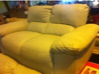 Tidy 3+2 Cream Leather sofa. +. Pictures