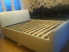 New NOT used £100 comes with 4 under bed storage white leather bargain