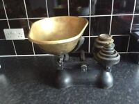 Very Large and Heavy Vintage Weighing Scales with Weights