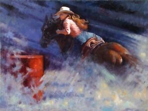 Canvas Art Print. Barrel Racer by Clement Kwan NEW
