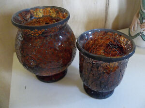 Two mosaic candle holders