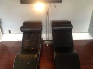 TWO REAL LEATHER CHAISE / LOUNGE CHAIRS WITH READING LAMP