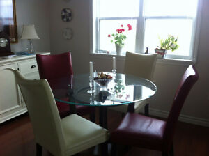Glass Dining Table, Chairs