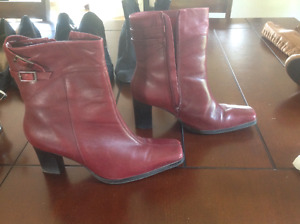 Red Leather Boots - like new