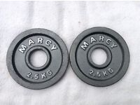 2 x 2.5kg Marcy Olympic Cast Iron Weights