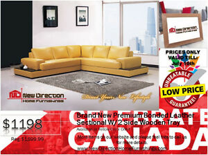 ◆Brand New 3pc High Grade Bonded Leather Sectional W/Wooden Tray