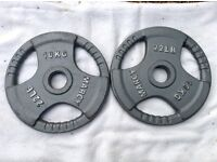 2 x 10kg Marcy Olympic Tri-Grip Cast Iron Weights