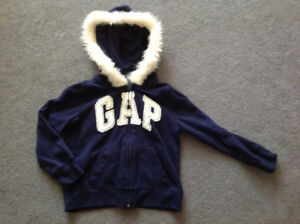 EUC Gap Kids Girls Zip-Up Hoodie Navy Blue XS 4-5