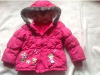 TU pink girl coat with hoody age 2/3yrs used £2
