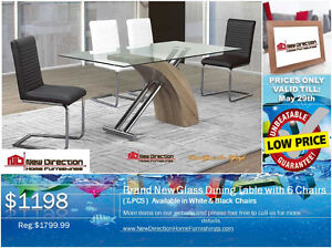 ◆ Brand New 7PCS Modern Designed Dining Set W/Glass & 6 Chairs◆