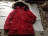 Zara girls coat size: 13/14 red colour used £6