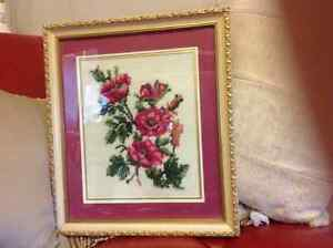 Pink Flowers hand stitched Needlepoint professionally Framed