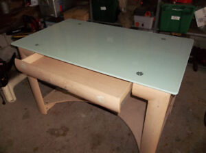 GLASS TOP TABLE WITH DRAWER