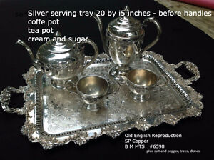 Victorian silver plate tea and coffee service plus other pieces