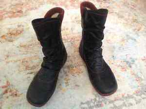 Black calf high winter boots