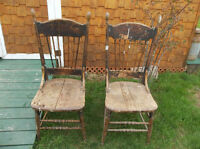 Two antique solid wood chairs