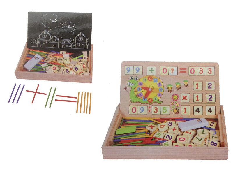 Montessori Mathe Spiel Lernbox mit Multifunktionen Zahlen Rechnen Lernuhr