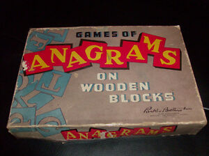 Extremely rare-vintage ANAGRAMS- red tiles with gold letters!