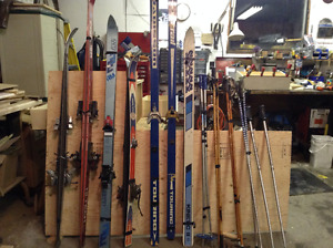 Downhill and cross country skis and poles