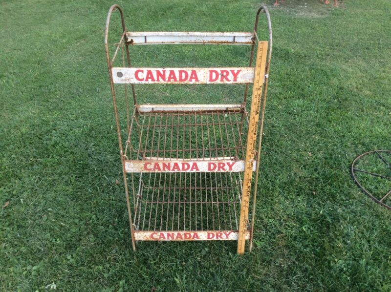 Vintage Canada Dry Soda Store Display Rack , Shabby Three Shelf Display