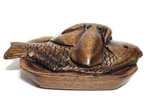 """Y6223 - 20 Years Old 2"""" Hand Carved Ebony Ironwood Netsuke: Fish & Octopus"""