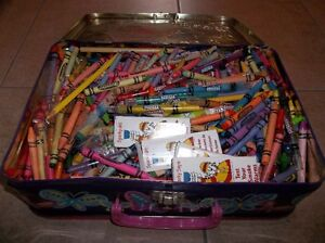 Barbie tin suitcase full of crayons