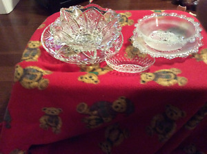 5 assorted glass dishes