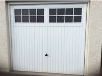 2x Garador Salisbury 7670 Steel Up and Over White Garage doors each with electric control