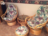 Wicker world rattan chairs,table and ottoman