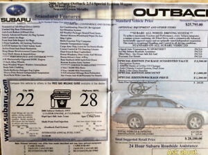 2006 SUBURU OUTBACK SPECIAL EDITON VERY LOW KILOMETERS