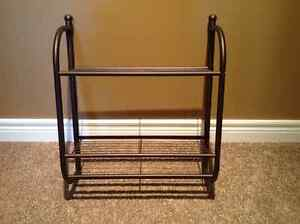 New Condition - Bronze Metal Two Level Shelf with Towel Bar
