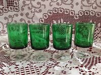 REDUCED Rare Vintage Green Cordial Glasses