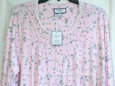 Charter Club Womens Nightgown LARGE 100% Cotton Pink Gown Sleepwear - Charter Club Cotton Robe