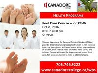 Foot Care for PSWs, Canadore College, Parry Sound