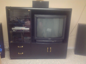 TV and stereo wood cabinet
