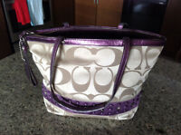 Authentic Coach Handbag. Metallic Purple and Beige
