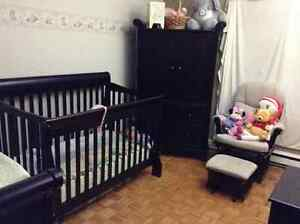 Crib, changing table (4 drawers), rocking chair with ottoman