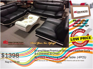 ◆Brand New 4PCS Bonded Leather Sofa Set W/1 Big Coffee Table@NEW