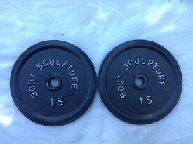 8 x 15lb (6.8kg) Bodysculpture Standard Cast Iron Weights