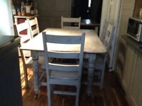 Solid wood shabby chic table and six chairs