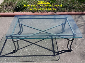 """FS: Clear Glass Table, Solid Metal Base 50"""" x 30"""" x 19"""""""
