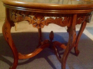 Vintage Pair of  Coffee Tables with Pretty Carved Details