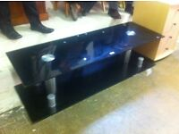 Long black glass TV table / free Glasgow delivery