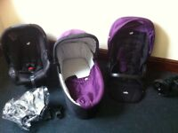 Joie 3in1 purple/black travel set, bassinet, seat, car seat and rain cover