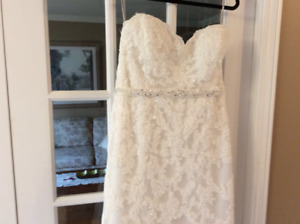 Lace and beads wedding dress slightly off white colour.