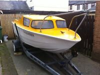 Shetland type boat 15 ft with 40HP yamaha outboard and trailer