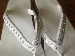 White Between Toe Sandals with BLING St. John's Newfoundland image 2