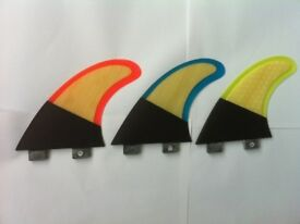 SURFBOARD FINS Carbon/Wood/Bamboo FCS fit Surf Fin, G5/M5 Thruster Set 3 in Blue, Red or Yellow trim