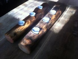 Driftwood Log Candle Holders