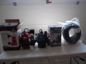 3 Sump Pumps Plus New Hose
